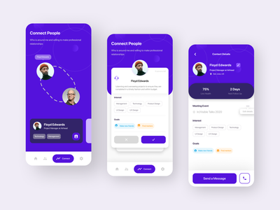 Mobile App — Connect People people connection contact app design uiux trend purple linkedin event app relationship networking professional design mobile app design ui