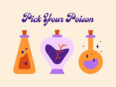Magic Elements elements glass mistic retro poison magic illustration