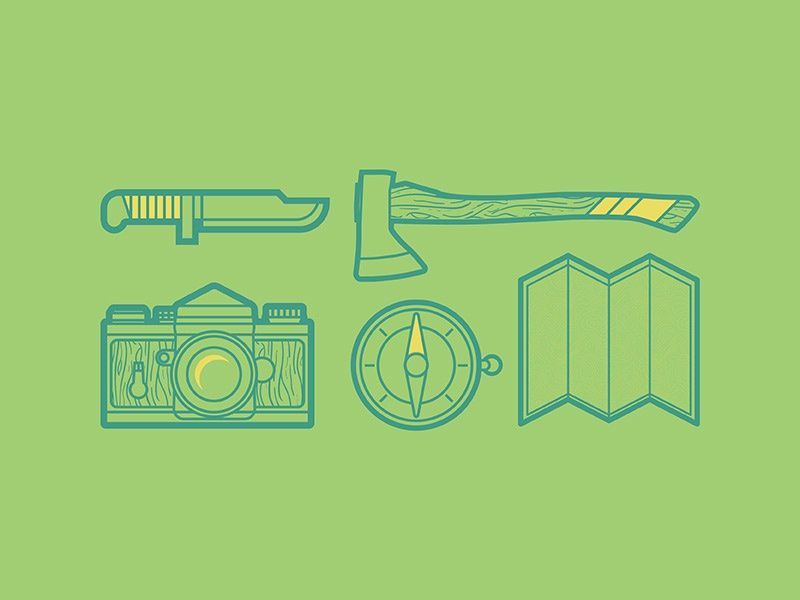 Camping Essentials icon camping vector illustrator woodgrain camera axe