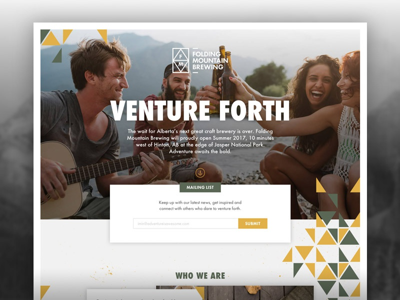 Folding Mountain Brewing Minisite minisite web ui ux craft brewery beer