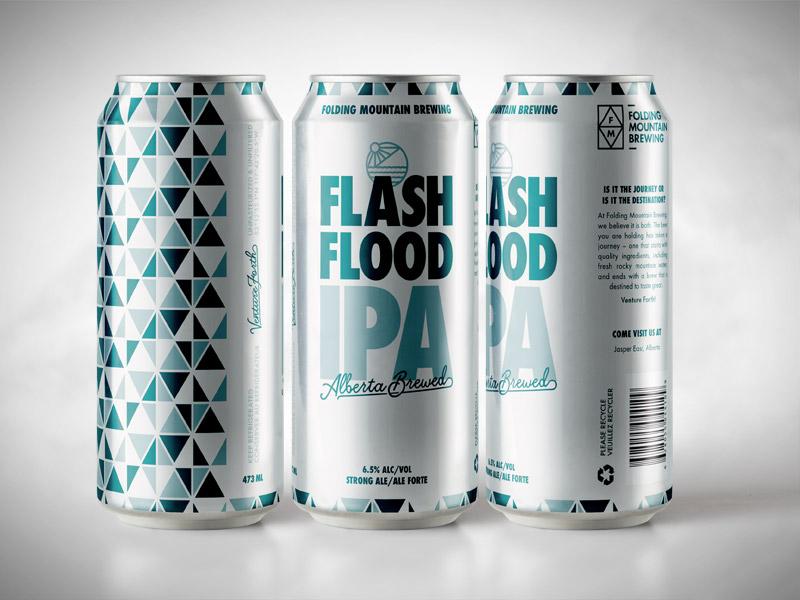 Flash Flood IPA identity branding beer can hinton alberta craft brewery beer