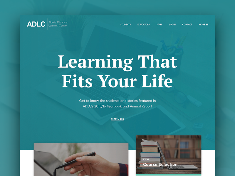 ADLC Homepage education website web design ui ux