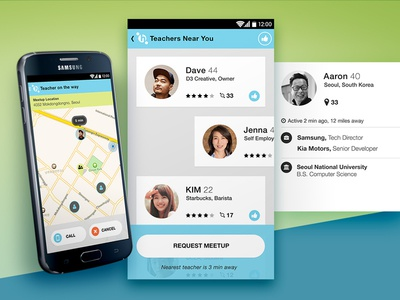 HelloCafe Map and Teachers uber ui android