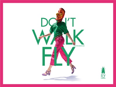 Don't Walk Fly typography advertising shoes