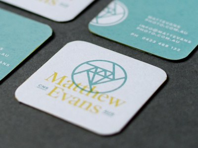 Matthew Evans - Business Cards chipboard edge painting screen print photography branding logo business cards
