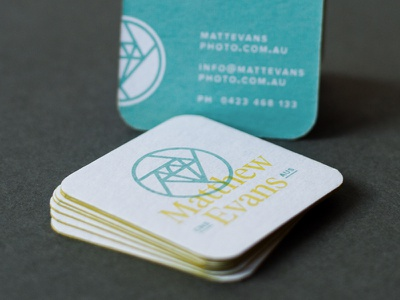 Matthew Evans - Business Cards 2 chipboard edge painting screen print photography branding logo business cards