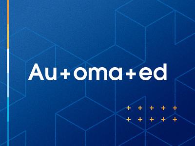 Automated +++ Logo logotype digital isometric automation plus sign wordmark conference identity branding logo