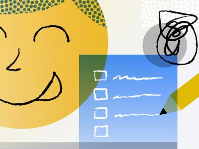 New Year Resolutions for Startups Like Us overprint halftone pen gradient illustration