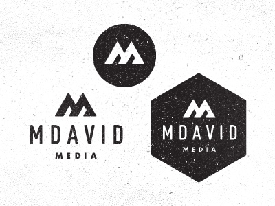 M David Media photography photo logo identity branding badge circle mountain m stripes texture noise modern triangle angle din futura