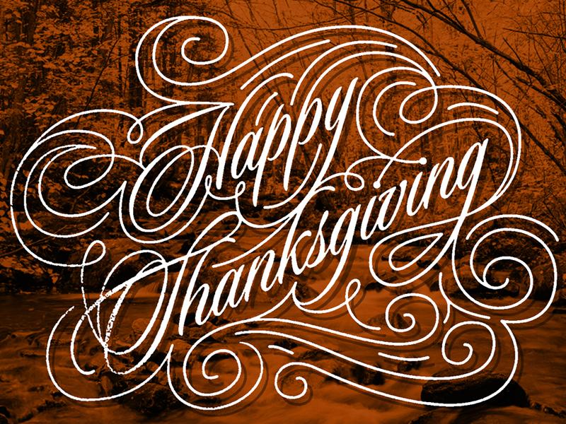 Happy Thanksgiving typography swash ornament type sloop