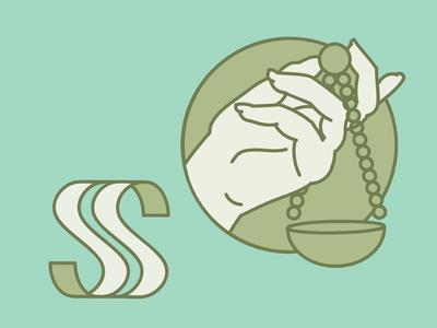 LS 3 lineart illustration hands vector logo letter