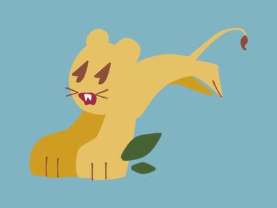 Leaping Lion cute simple illustration lion