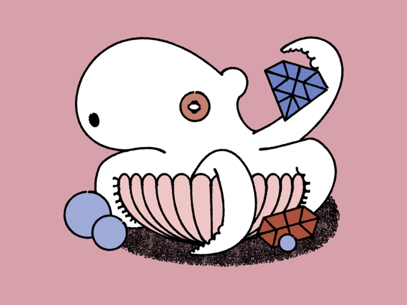 Flawless shell illustration simple lineart octopus