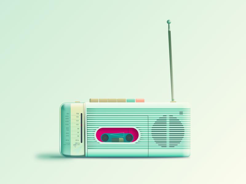 90-ish Radio - Sketch sketch sketchapp freebie radio gradients shadow 90s