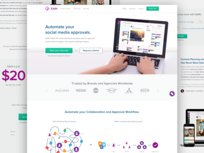 GAIN App Marketing Website landing page product page product clean home g logo gain minimal web ux ui