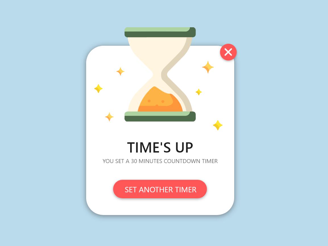 DailyUI #016 Pop-Up/Overlay timer 016 dailyui