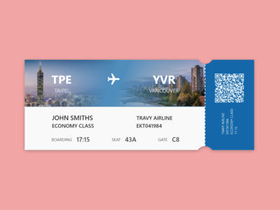 DailyUI #024 Boarding Pass