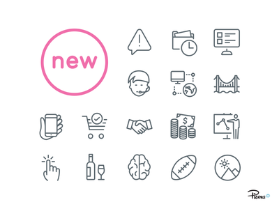 Big news! Picons Thin Update vector icons ios android mobile retina iconset pictograms