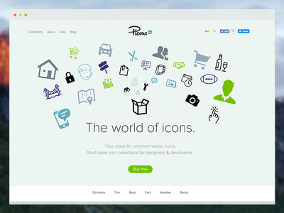 New Picons.me website picons.me vector icons redesign design website picons