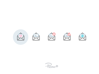 Picons in color? mail envelope color iconset vector icons icons picons