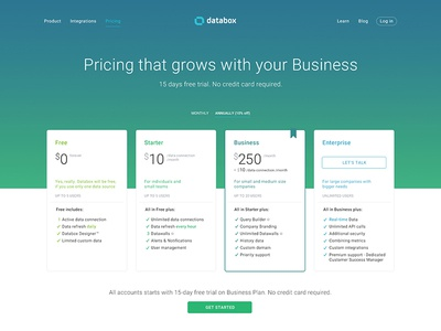 Pricing website design for databox by gasper vidovic for Web page table design