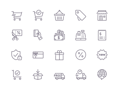 Shopify & Iconfinder eCommerce Icons outline shopify iconfinder online web vector shopping ecommerce icons