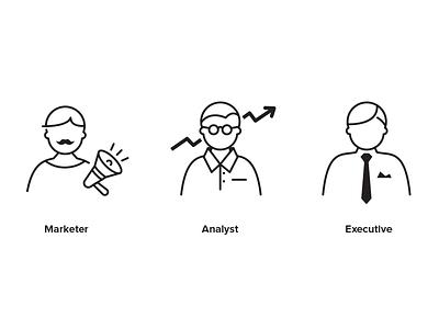 Marketer, Analyst, Executive vector personas icons ceo executive analyst marketer