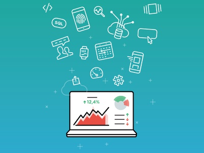 Illustration with Icons for Databox Article databox graphs analytics notebook vector icons features picons icons