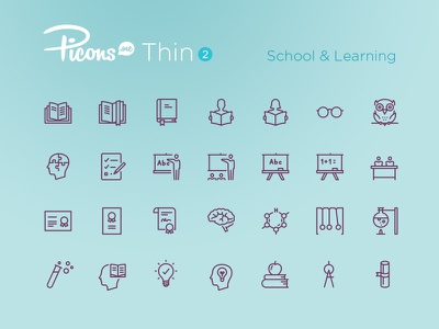 Picons Thin 2: School & Learning line icons outline symbols icons download update icon set vector icons picons