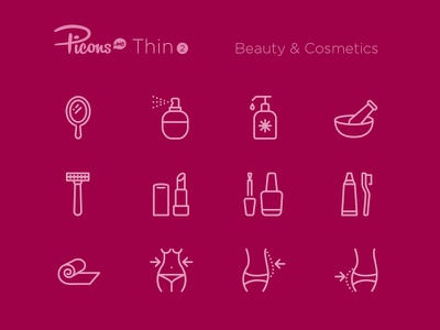 Picons Thin 2: Beauty & Cosmetics wellness spa beauty cosmetics picons vector icons icon set icons symbols outline line icons