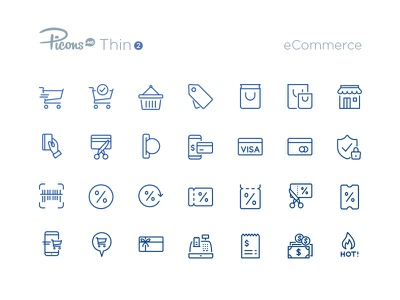 eCommerce icons icon set update thin icons vector picons