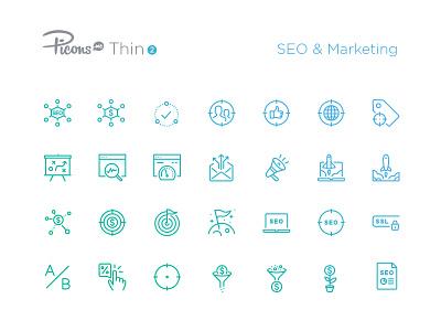 SEO & Marketing icons picons vector outline icon set icons marketing seo
