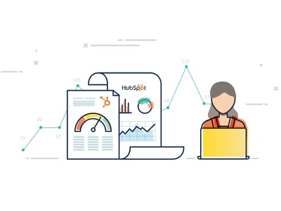 Databox Hubspot Benchmarks Illustration benchmark data illustration vector picons