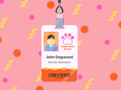 Kennel Attendant ID Badge pawprint inkscape branding design flat vector art pastel id badge badge id animal kennel illustration vector