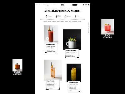 495 Martinis & more | Vodka 495 products web typography drinks alcohol ui design ui black website web design illustration cocktail