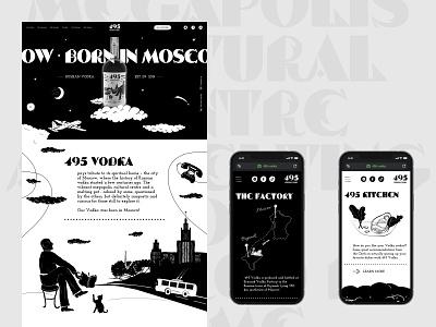 495 Vodka \ New case on Behance desktop figma web illustration black presentation case design ui behance