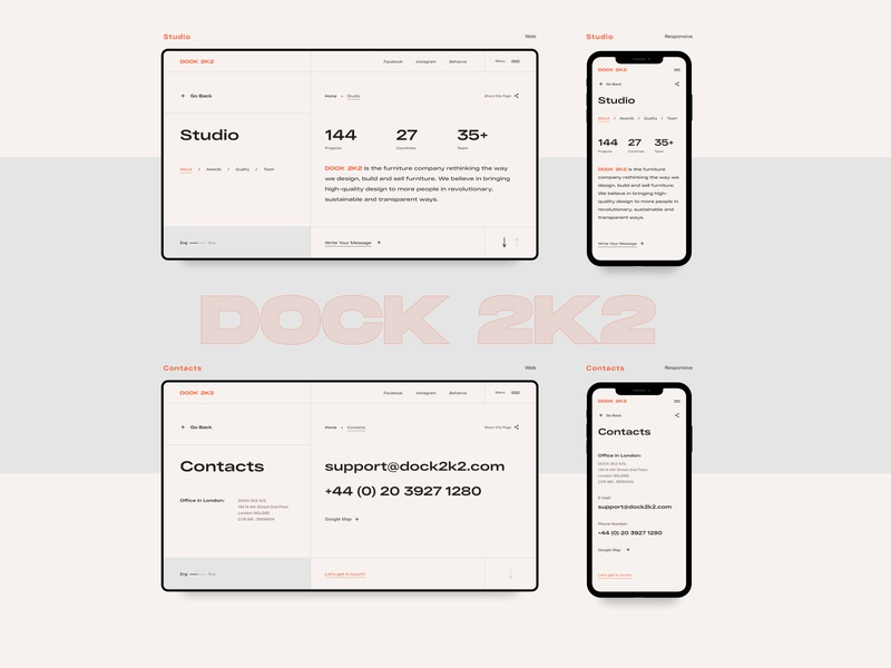 DOCK 2K2 | Studio & Contacts grotesk grotesque studio contact responsive grid clear web chair webdesign furniture design modern ui
