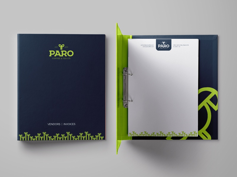 PARO Coffee folder brand stationery mockup stationery design mockup branding brand identity cafe coffee corporate identity business collateral print stationery folder