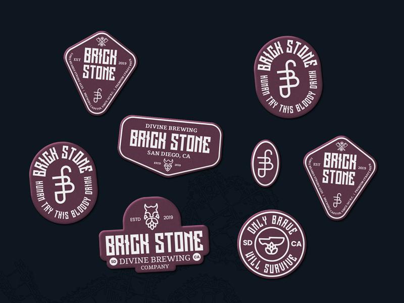 BrickStone Stickers brand identity identity typography wordmark icon symbol mark logotype logo design logo lockups lockup stickerspub sticker stickers