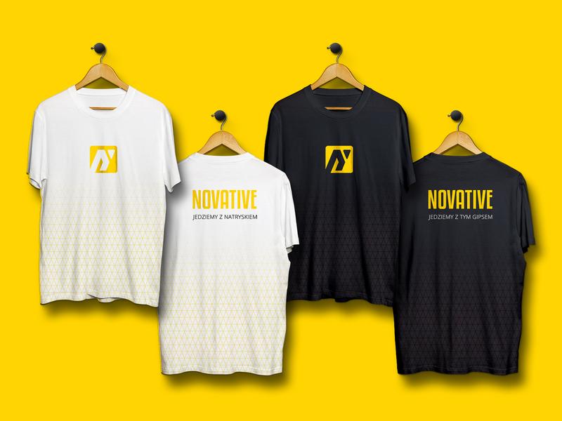 Novative T-shirts/Uniforms uniforms tshirts merchandise mockup logotype visual identity print collateral logo design logo contractors construction branding identity brand identity