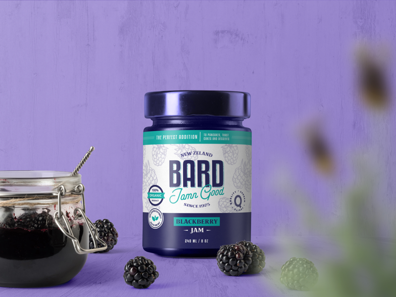 Bard Blackberry Jam packaging jar label label design packaging design label packaging wordmark branding brand identity mark symbol identity logo design logo