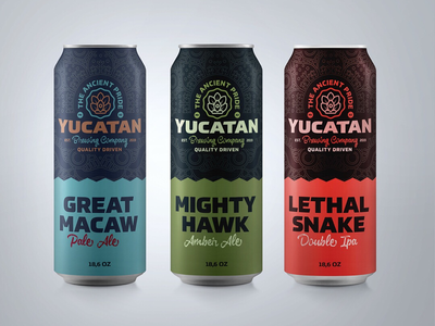 Yucatan Brewery Beer line packaging designs