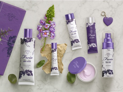 Freia Lavender - Skin care product line branding identity beauty logo logo beauty product beauty label product line products product packaging design packaging