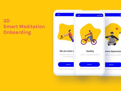 3D UI onboarding logo @2x clean illustration @appdesign @app @daily-ui character application meditation medical media