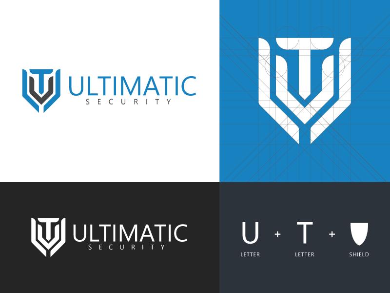 Ultimatic Security - Logo Design security grey blue t u shield ultimate monogram logo icon design creative branding