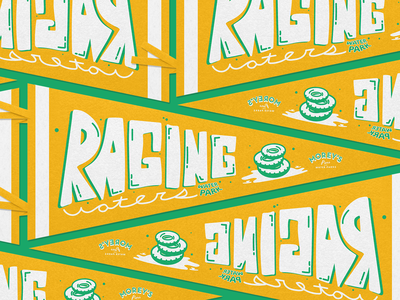 Raging Waters Pennant illustrator brand pennant waterpark illustration design type