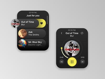 DailyUI 9 - Music Player - Service Design Club app design figma music player ui smartwatch daily ui