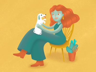 Girl & Dog illustration friendly mascot 2d drawing character design style colour people people illustration character child illustration dog design illustration
