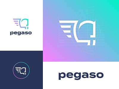 Logo Design - Estudio Pegaso gradient pegasus modern logo logo construction minimal animal logo animal concept brand design branding vector logo