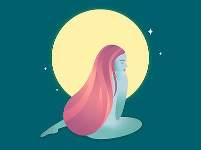 New Moon night moon love female cute character vector art moonlight girl illustration vectorart vector illustration character design illustration